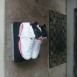White infrared retro Jordan 6's